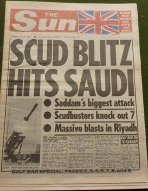 Priory Antiques | Scud Blitz Hits Saudi – The Sun – January 21st, 1991